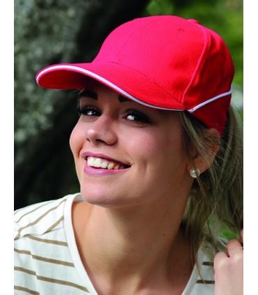 Cap White-Stripe - Six segments en coton lourd brossé | Visière courbée avec insert sandwich et couture décorative blanche | Fer
