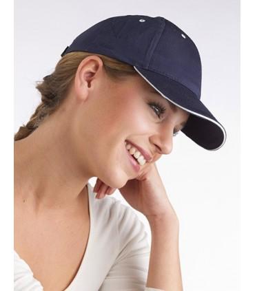 Six panel cotton twill cap - 100% Coton Twill - 220gsm | Avec Visière sandwich | Fermeture à Velcro -Marque: Printwear