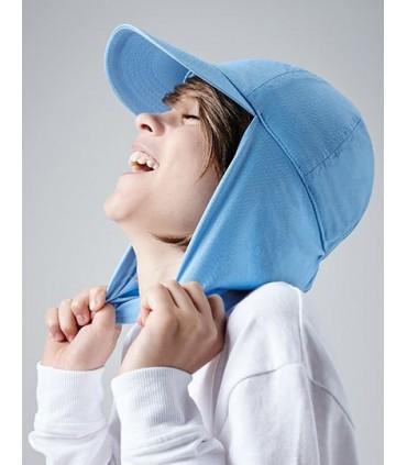 Junior Legionnaire Style Cap - casquette 6 panneau | Visière précourbée | 100% Coton Twill - 220gsm | Ajustement de taille élast