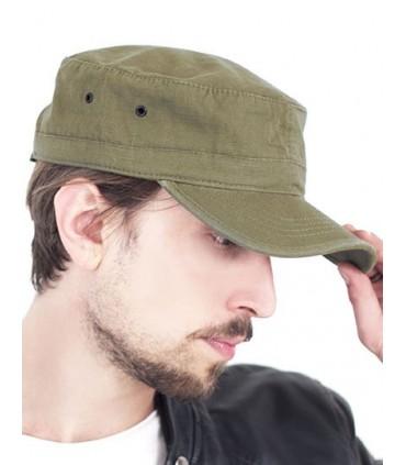 Army Cap - Coton rib-stop | Coupe militaire | Fermeture Velcro | Bandeau en coton | Look délavé | Panneau avant non structuré av