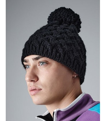 Vermont Beanie - 100% Soft-Touch Acrylique | Touche 'tricoté à la main' | Motif de tricot tressé sophistiqué | Bande thermique S