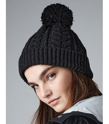 Cable Knit Snowstar® Beanie - 100% Soft-Touch Acrylique | Tricot de cable épais | Style classique | Conception à revers pour une