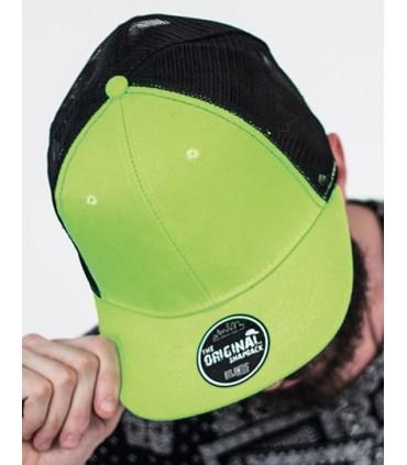 Snap Mesh Cap - 6 panneaux | Visiere plate | Fermeture PVC | Bandeau de transpiration: 35% coton, 65% polyester | Visière contra