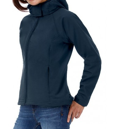 Hooded Softshell / Women - softshell 3 couches - haute performance | Coupe féminine | Capuche passe-montagne détachable | Ouvert