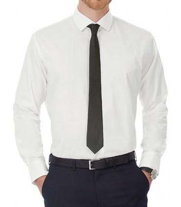 Poplin Shirt Black Tie Long Sleeve / Men - 97% coton peigné/ 3 % élasthanne | Col cutaway 2 boutons | Boutons nacrés assortis co