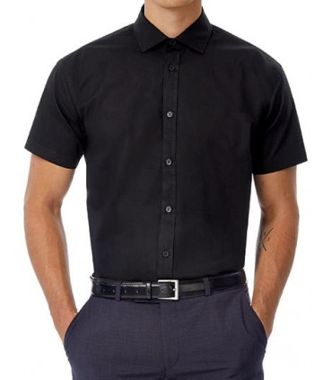 Poplin Shirt Black Tie Short Sleeve / Men - 97% coton peigné/ 3 % élasthanne | Col cutaway | Boutons nacrés assortis cousus en c