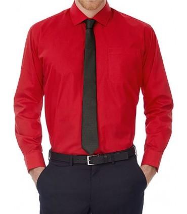 Poplin Shirt Smart Long Sleeve / Men - Col cutaway | Boutons nacrés assortis cousus en croix | Poignets ajustables 2 boutons à b