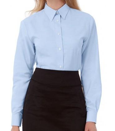 Oxford Shirt Long Sleeve / Women - 70% coton peigné / 30 % polyester | Cal boutonné doux | Col féminin souple | Boutons nacrés a