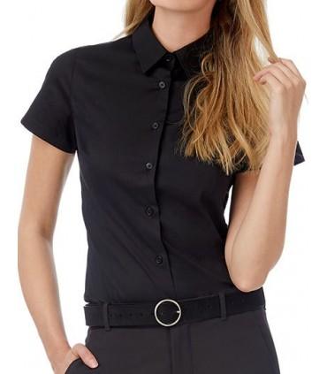 Poplin Shirt Black Tie Short Sleeve / Women - 97% coton peigné/ 3 % élasthanne | Col féminin souple | Boutons nacrés assortis co