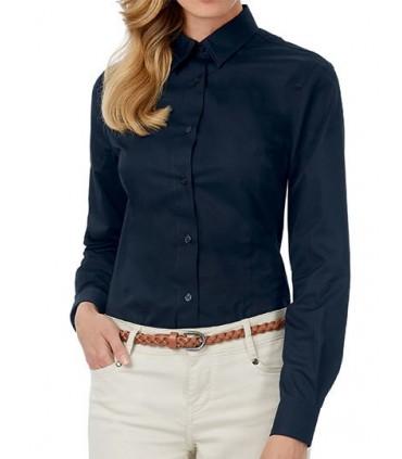 Twill Shirt Sharp Long Sleeve / Women - 100% coton peigné | Col féminin souple | Boutons nacrés assortis cousus en croix | Poign