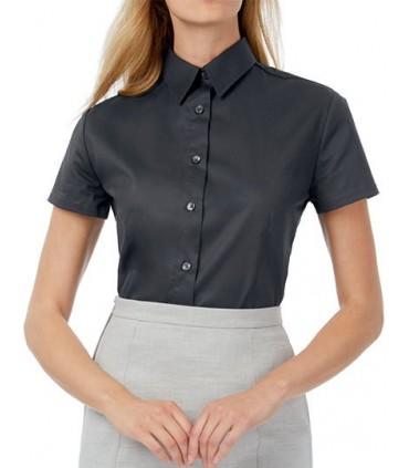Twill Shirt Sharp Short Sleeve / Women - 100% coton peigné | Col féminin souple | Boutons nacrés assortis cousus en croix | Manc