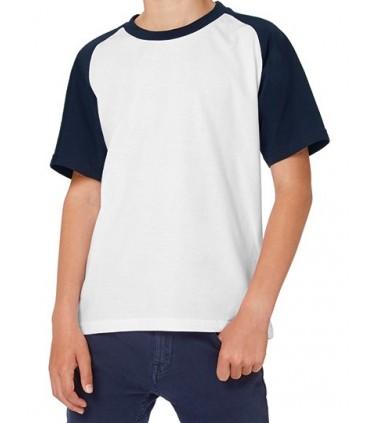 T-Shirt Base-Ball / Kids - 100% coton filé à anneaux pré-rétréci | Bande de propreté | col contrastant | Manches raglan | Encolu
