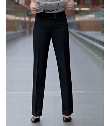 Sophisticated Collection Miranda Trouser - Pantalon coupe droite | Taille basse | fermeture a 2 boutons | Poche à clè | Fausse p
