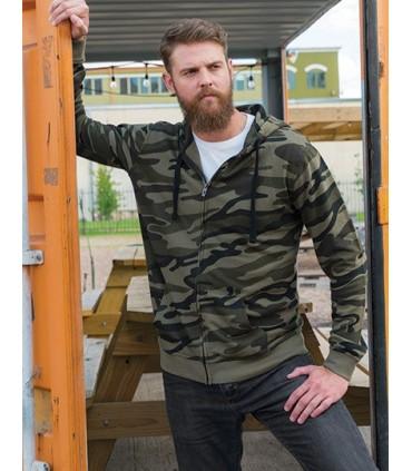 Full Zip Camo Hooded Fleece Jacket - Cordon noir à la capuche | Poche kangourou | Manchettes et revers inférieur -Marque: Burnsi