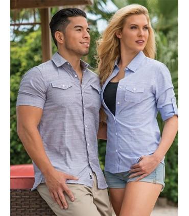 Woven Texture Shirt - 2 poches-poitrines, rabats | Piqures sur l'avant et le bord | Le bleu et le rouge ont des cols intérieurs