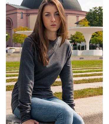 Ladies` Light Crewneck - Coton peigné | Coupe longue | Manches montées | Coutures Overlook tendances à l'ourlet et aux manches |