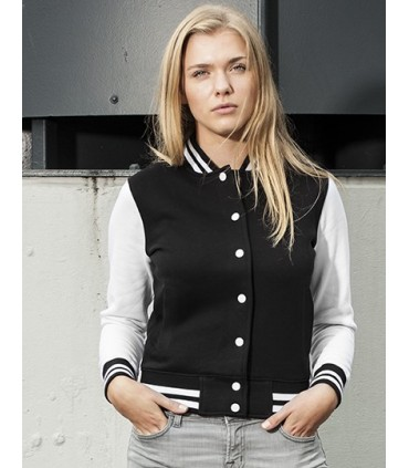 Ladies` Sweat College Jacket - Tissue sweat intérieur gratté | Étiquette neutre indiquant la taille, sans marquage, adaptée à l'