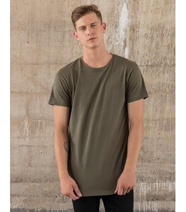 Shaped Long Tee - single jersey léger | Étiquette neutre indiquant la taille, sans marquage, adaptée à l'impression au niveau de