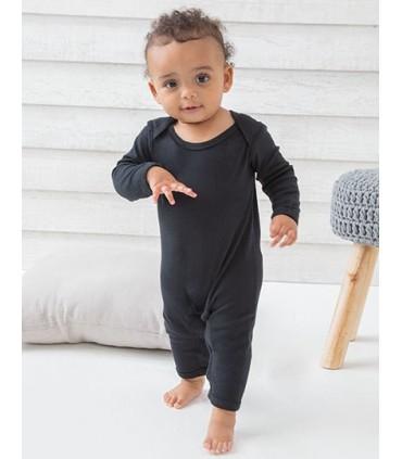 Baby Rompasuit - Coton peigné/ interlock | Barboteuse complète à manches longues | Encolure à enveloppe, | Ouverture de jambe av